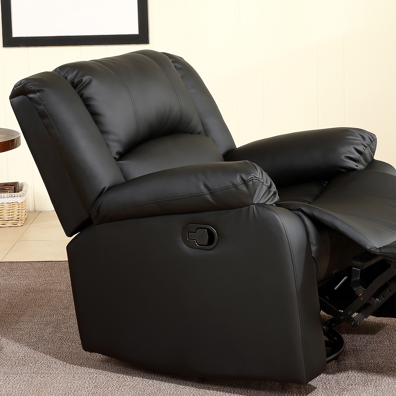 Ordinaire Recliner And Rocking Swivel Black Plush Over Stuffed Faux Leather Comfy  Chair