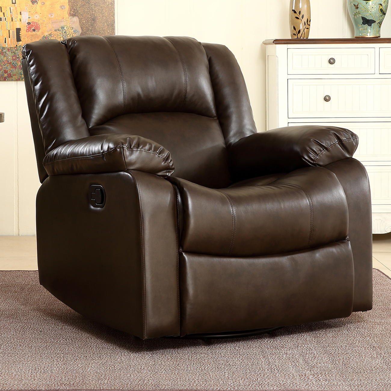 Bonded Faux Leather Rocker And Swivel Recliner Chair Glider Living Room    Brown