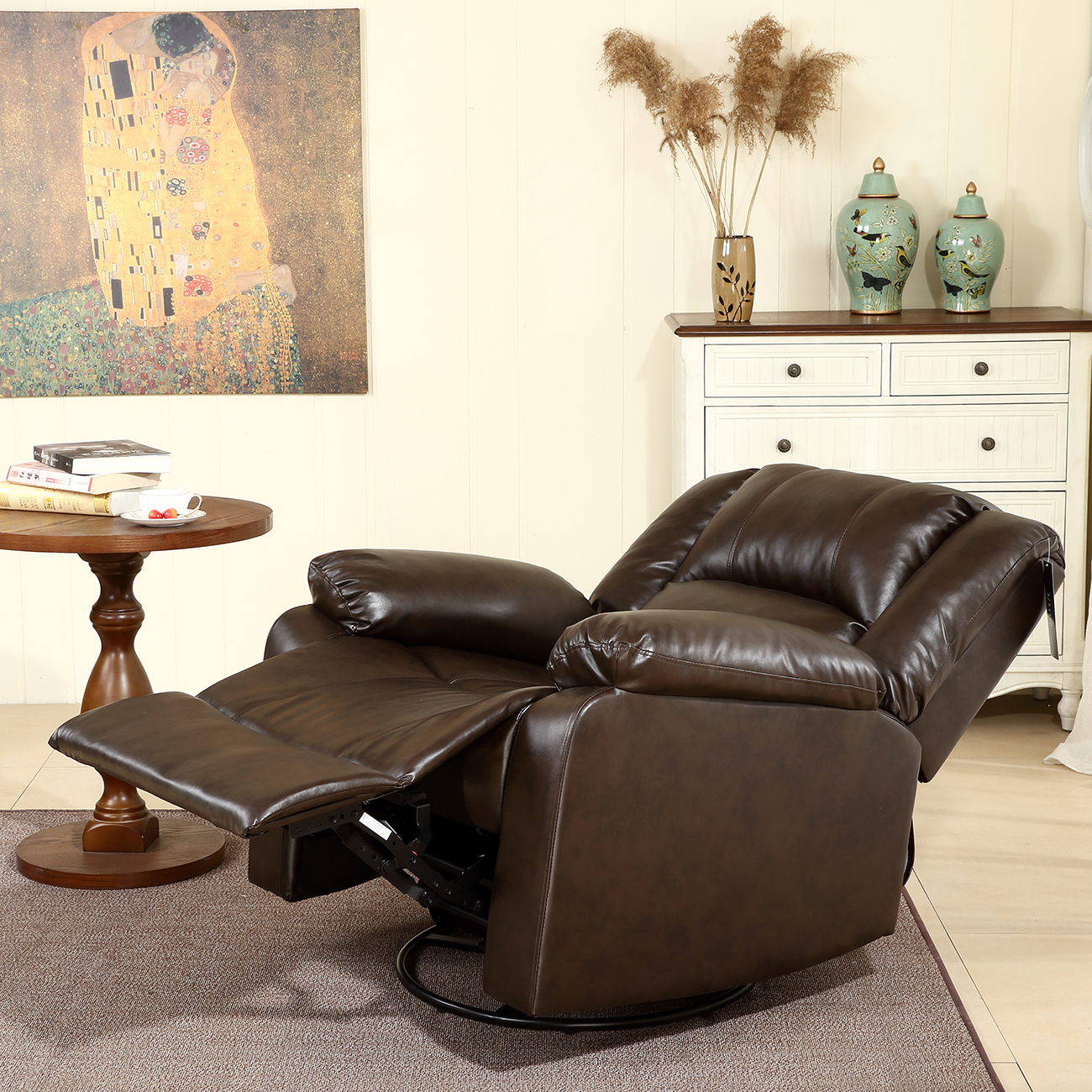 Bonded Faux Leather Rocker And Swivel Recliner Chair