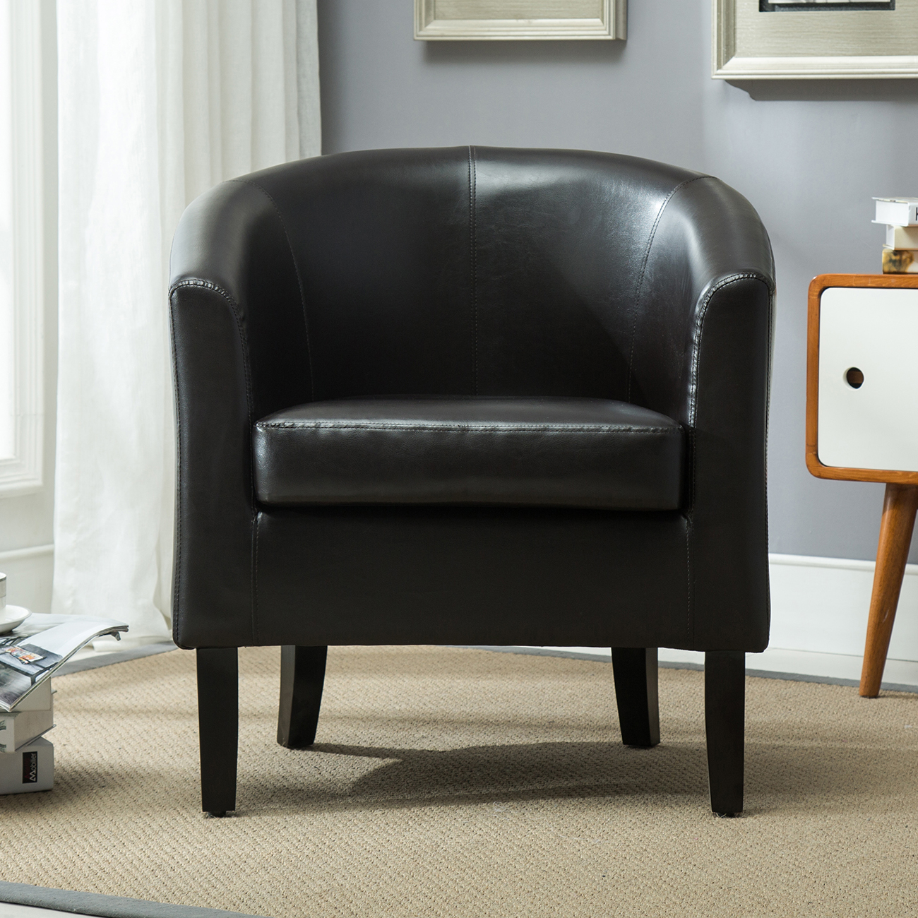 Club Chair Tub Faux Leather Armchair Seat Accent Living ...