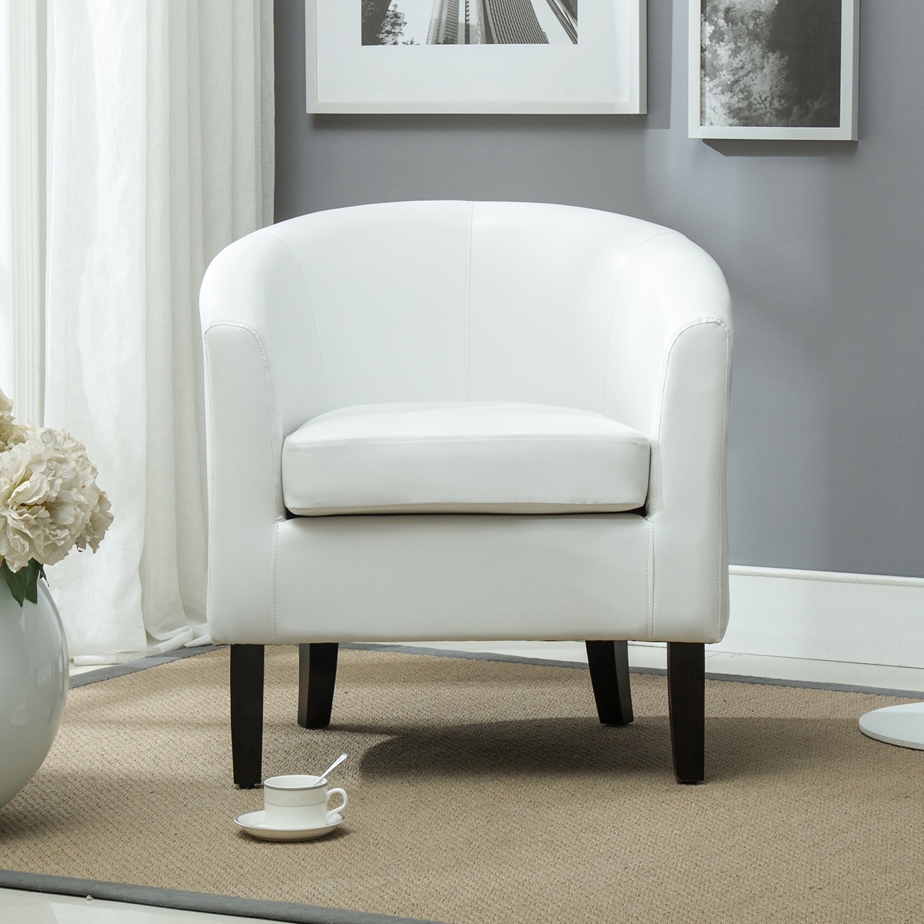 Club Chair Tub Faux Leather Armchair Seat Accent