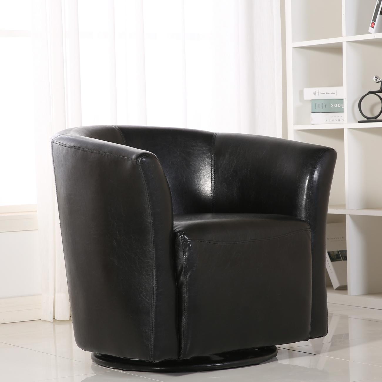 Incroyable Contemporary Swivel Base Glider Barrel ArmRest Pub Bar Round Chair, Black