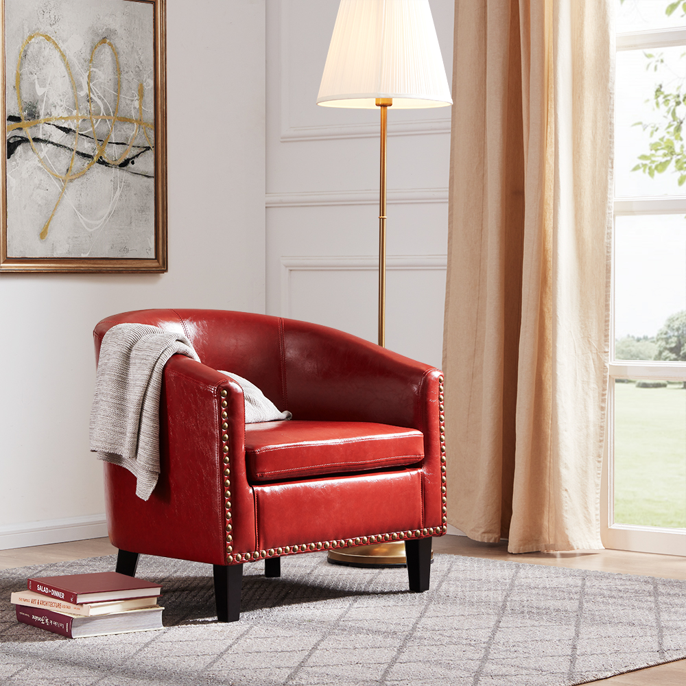 Details about Faux Leather Club Barrel Chair Accent Arm Chair Upholstered  Living Room, Red