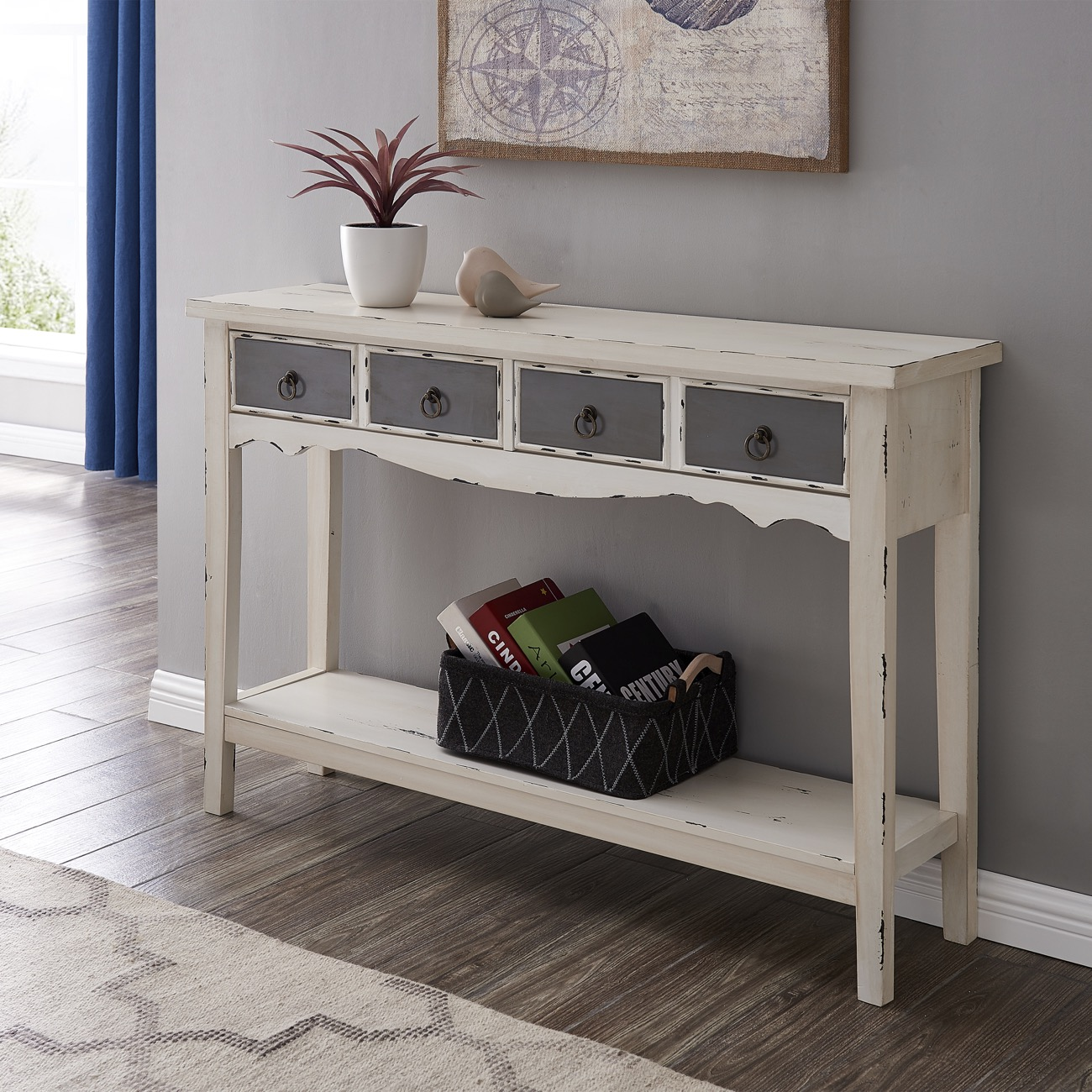 Details About Modern Two Tone Two Drawer Distressed Console Entryway Table Antique White
