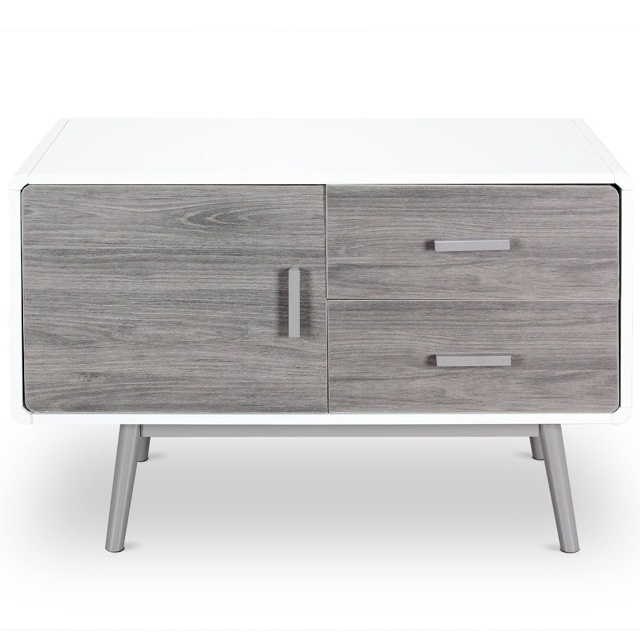 Details About Mid Century Modern Buffet Sideboard Stand With 2 Drawers 1 Cabinet In White