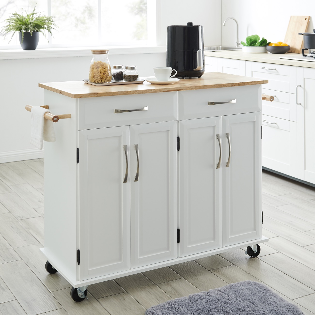 Details about Multi-Storage Portable Rolling Kitchen Island Cart with  Wheels in White, 36-Inch
