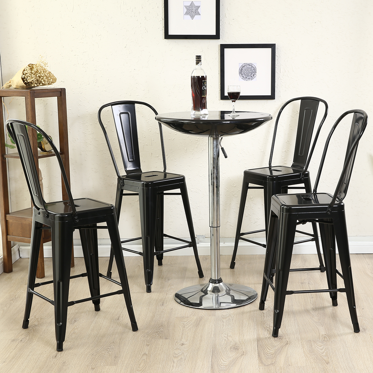Deluxe Bar Stool Barstool Chair With High Back Rest Set