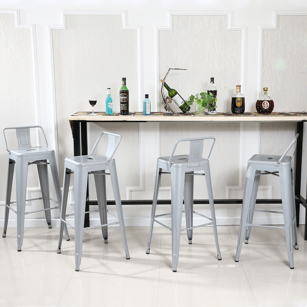 4pc Bar Stool Height Modern Chair Low Back W Footrest