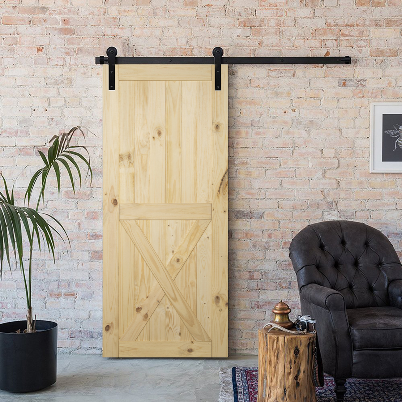 36 X 84inches Modern Sliding Pine Unfinished Barn Door Diy Double