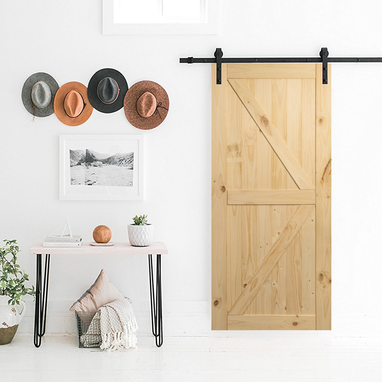 Unfinished Knotty Pine Sliding Barn Door Single Door Only No Rail