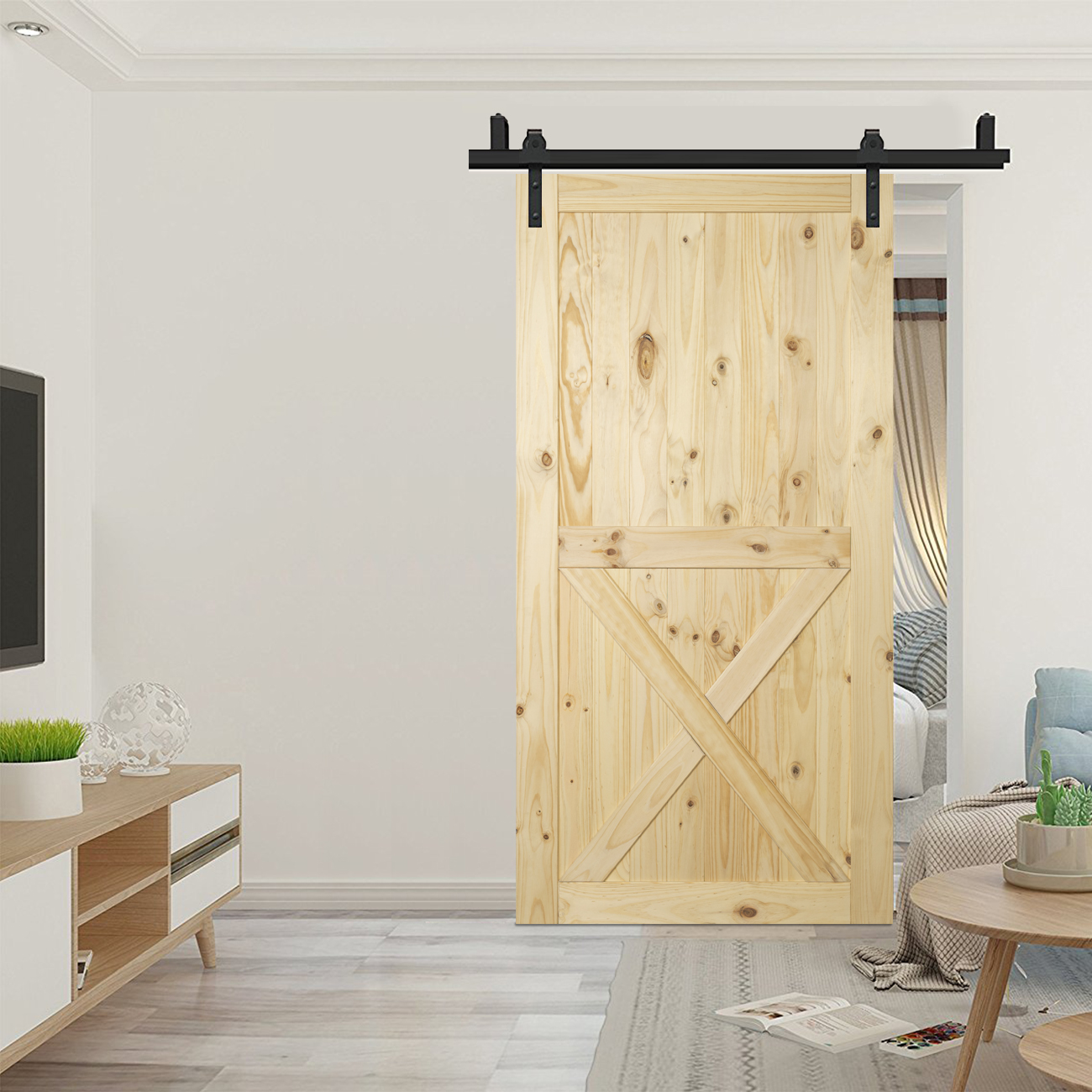 42 X 84 Inches Natural Wood Pine Unfinished Sliding Barn Door Diy