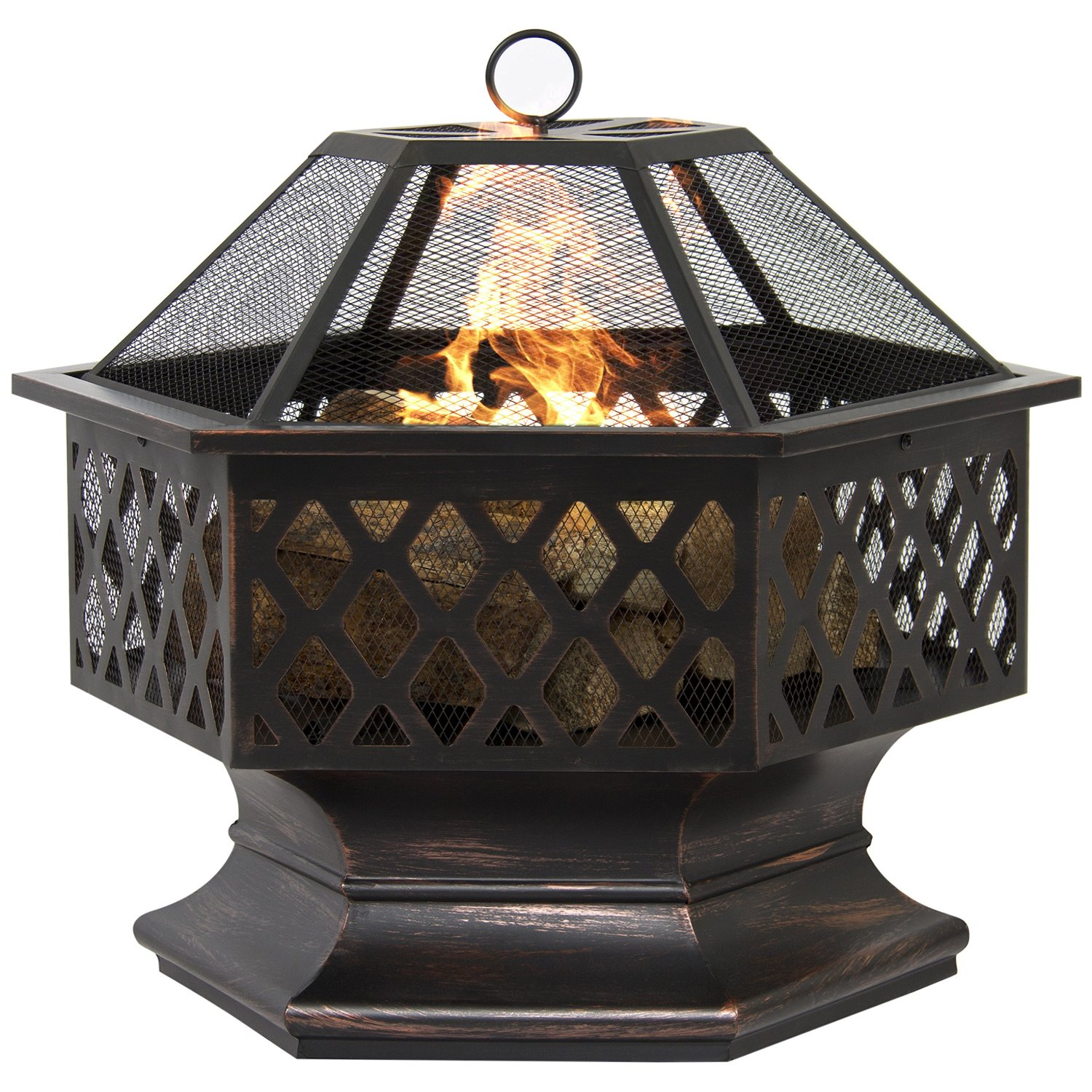 Hex Shaped Fire Pit Outdoor Home Garden Backyard Firepit Bowl