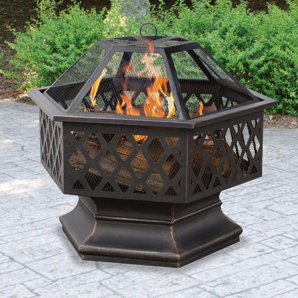Nice Hex Shaped Fire Pit Outdoor Home Garden Backyard Firepit Bowl Fireplace Log  Wood