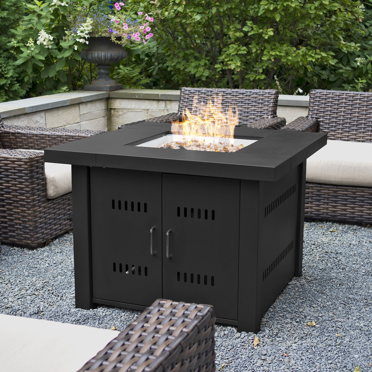 NEW Outdoor Fire Pit Square Table Firepit Propane