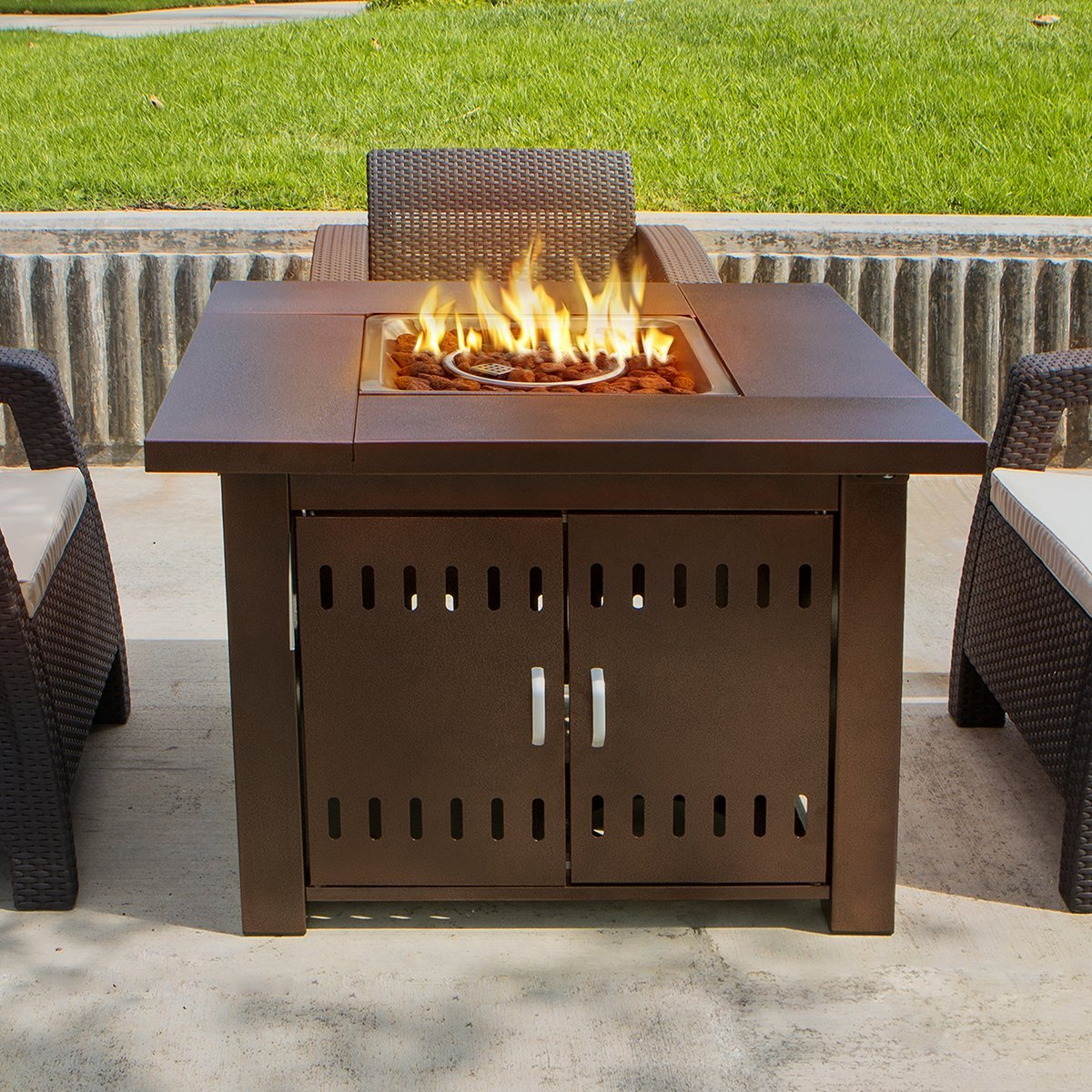 square fire pit table new outdoor pit square table firepit propane gas 30218