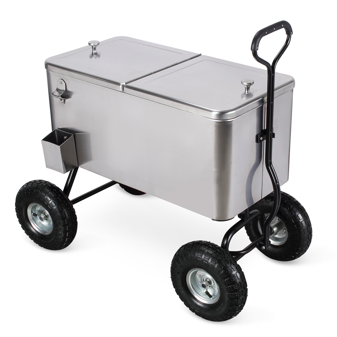 Details about Outdoor 80 Qt Portable Beach Party Backyard Patio Cooler Wagon Stainless Steel  sc 1 st  eBay & Outdoor 80 Qt Portable Beach Party Backyard Patio Cooler Wagon ...