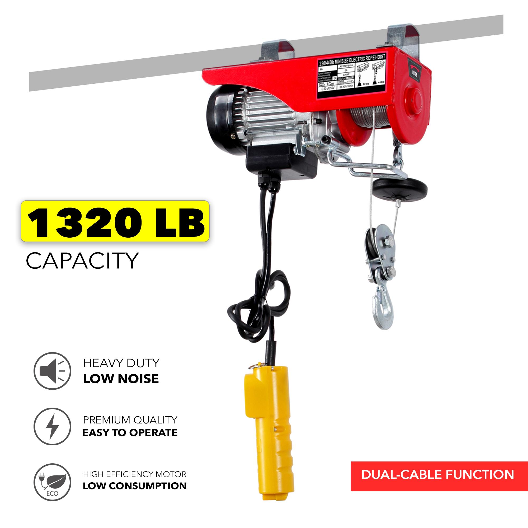 1320Lbs Mini Electric Wire Hoist Remote Control Garage Auto Shop Overhead Lift