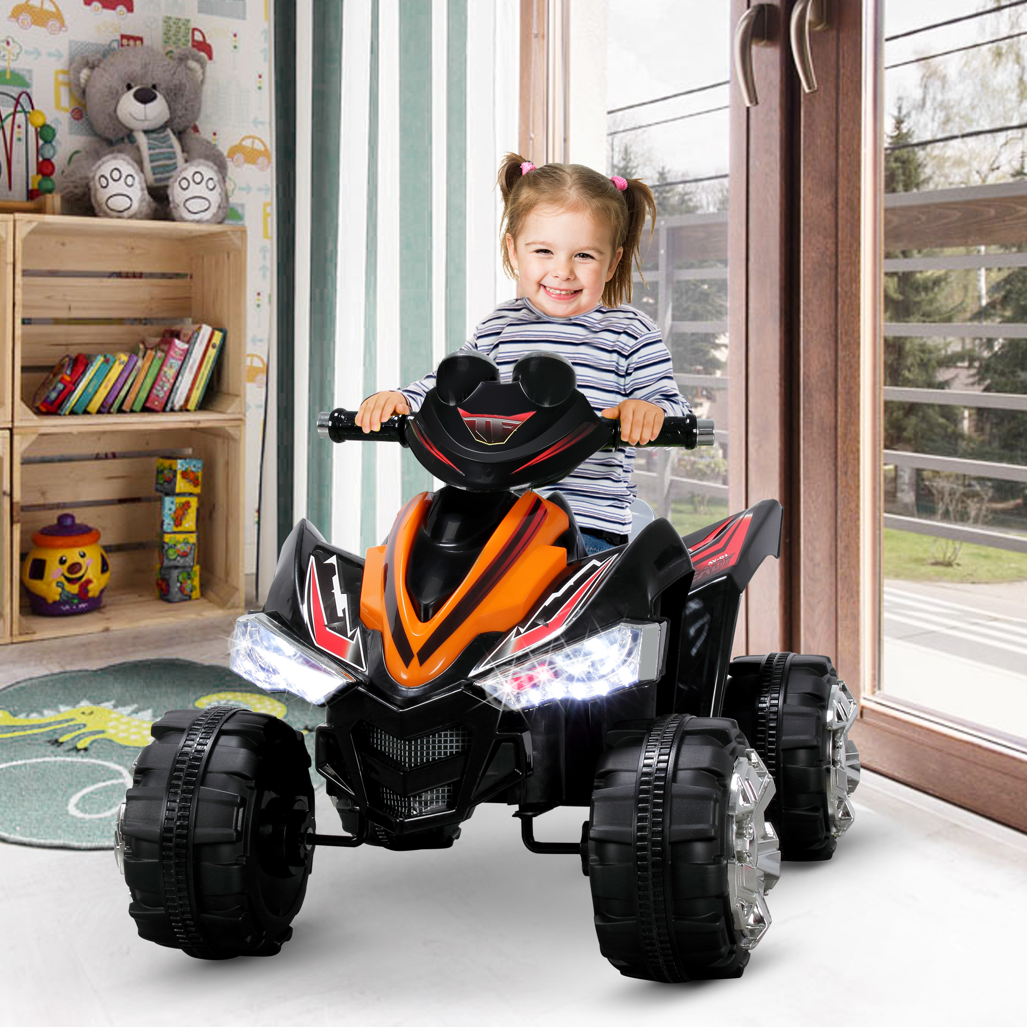 Details about Kids Ride-On Car 12V Kids Electric Car with 2 Speeds and LED  Head Lights, Orange