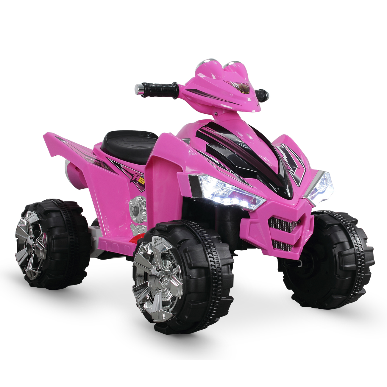 12V Battery Powered Electric Ride On Quad Kids Toy Cars ATV with 2 Speeds,  Pink
