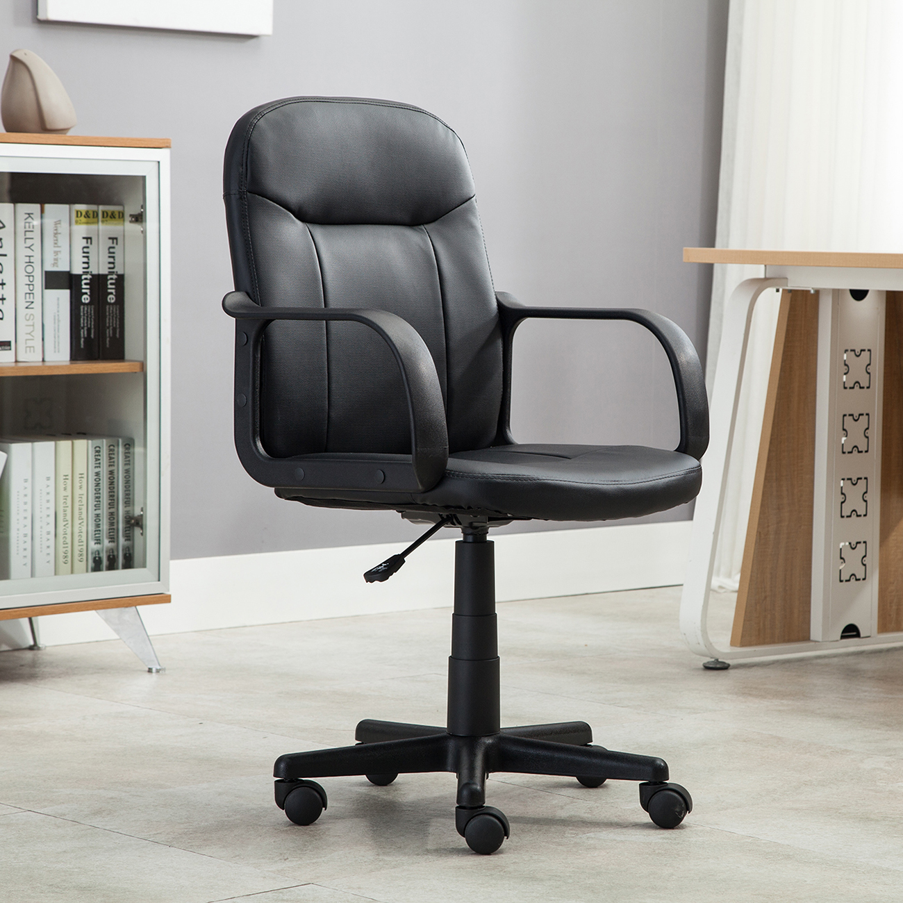 Black Modern Office Executive Chair PU Leather Computer Desk Task Hydraulic N