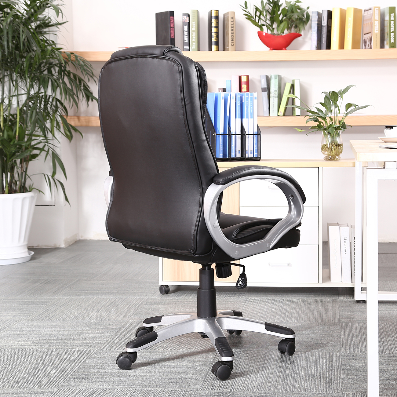 pu leather high back executive office task chair w
