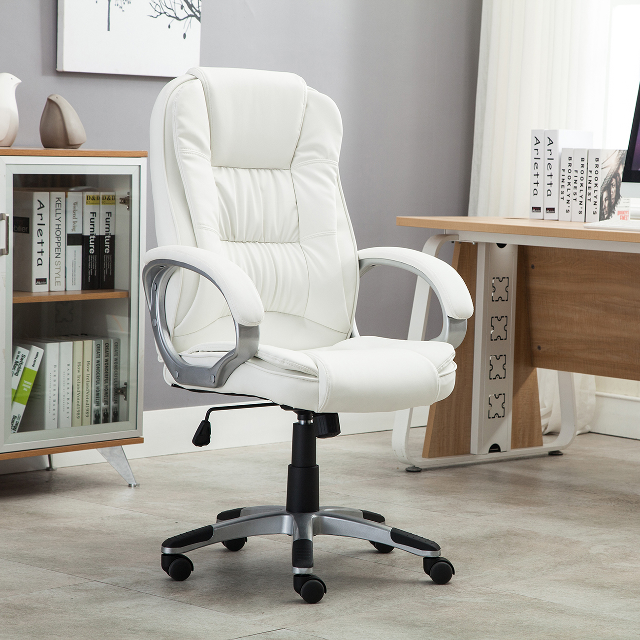 white pu leather high back office chair executive ergonomic computer
