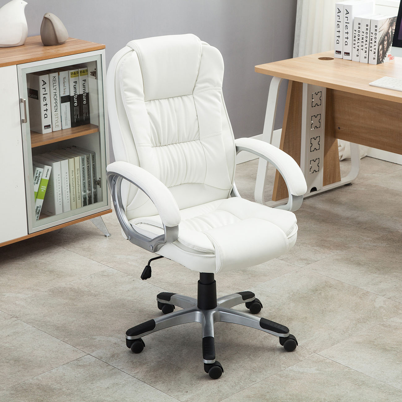 white leather desk chair white pu leather high back office chair executive 21991 | 048 gm 48098 6