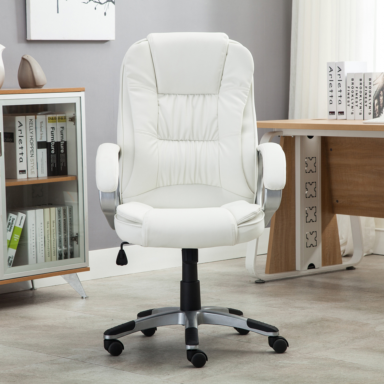 white leather chair white pu leather high back office chair executive 21975 | 048 gm 48098 7