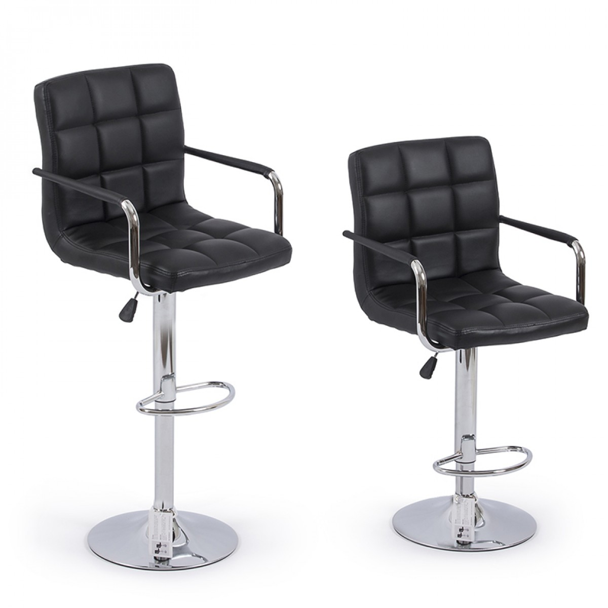 Prime Details About 2Pc Black Pu Leather Adjustable Height Swivel Bar Stool With Arms Chrome Base Ncnpc Chair Design For Home Ncnpcorg