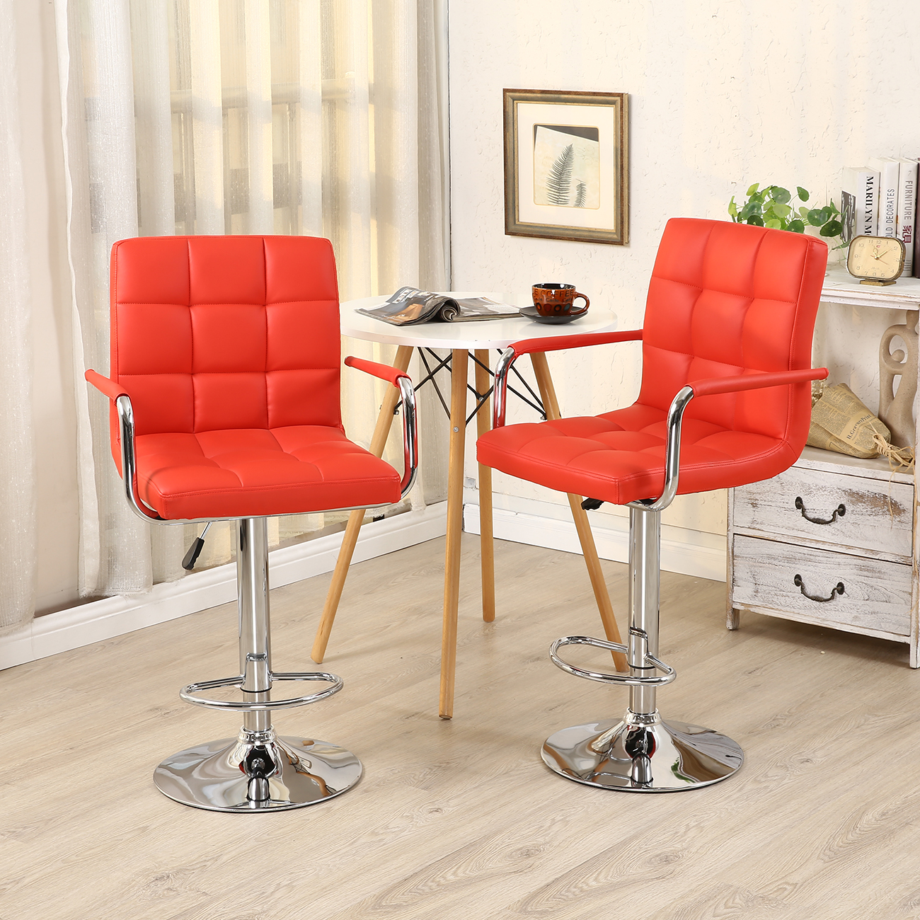 Set Of 2 Swivel Bar Stool Pu Leather Modern Adjustable