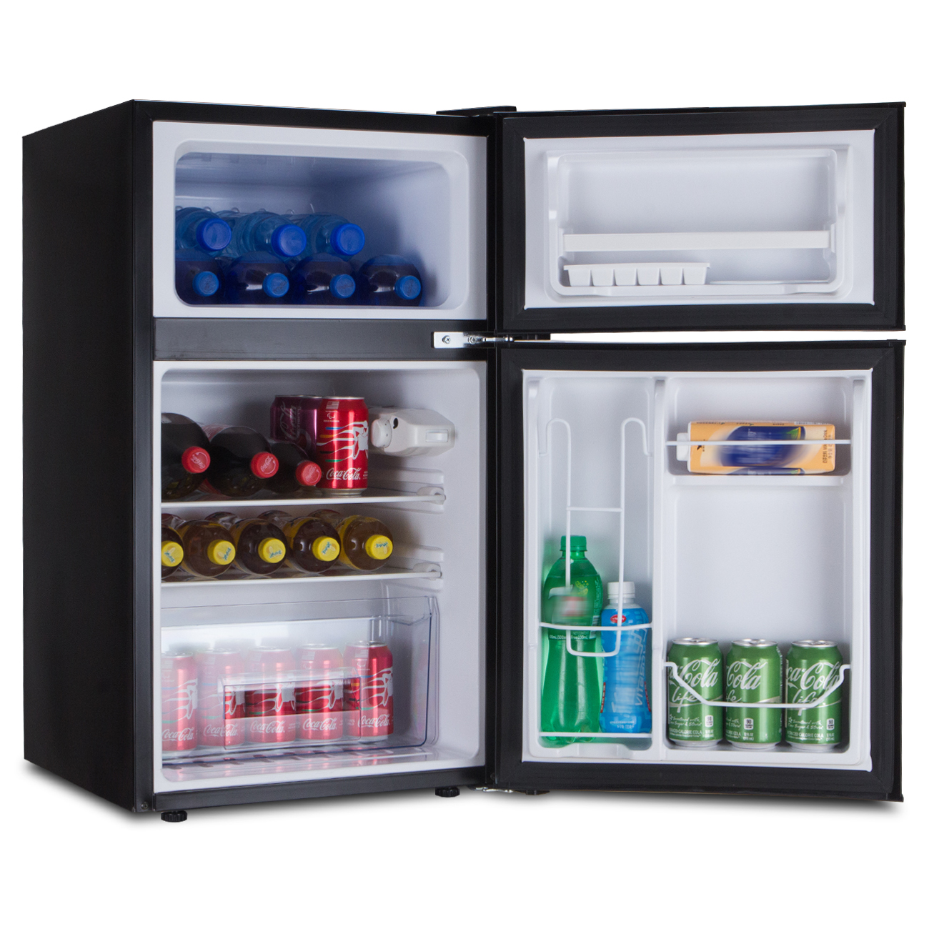 2 Door Mini Dorm Upright Compact Refrigerator And Freezer Fridge