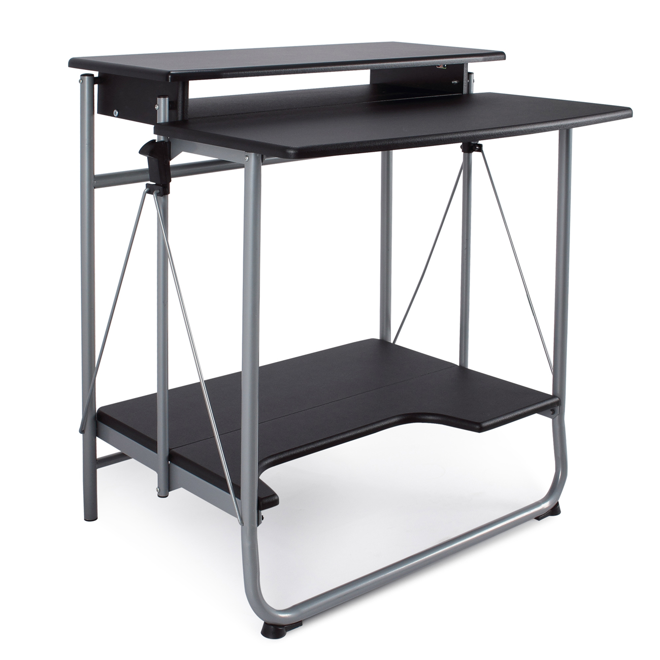 Superieur Details About Foldable Computer Writing Desk With Keyboard Tray And Lower  Storage Shelf, Black