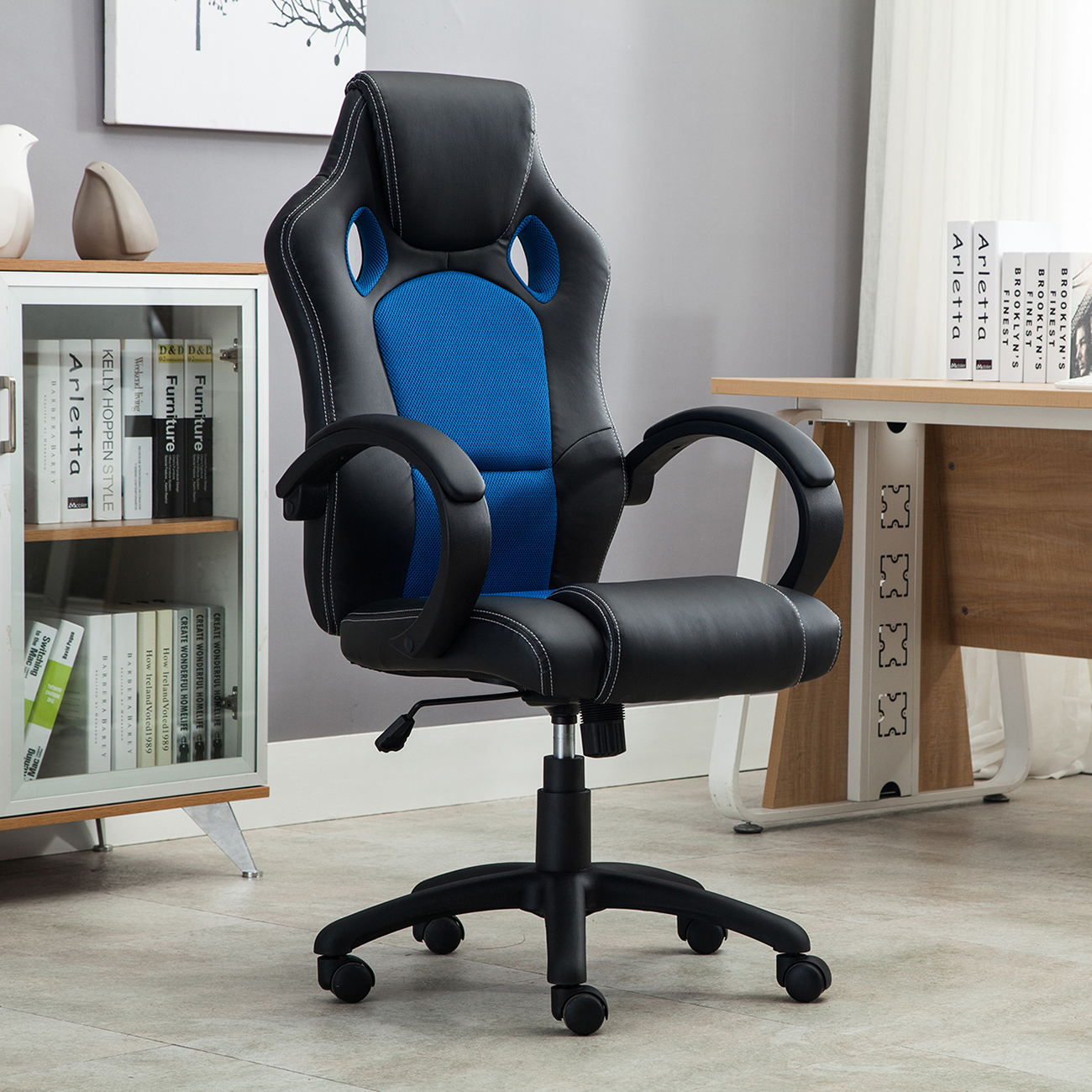 Office Chair Ergonomic Computer Mesh PU Leather Desk