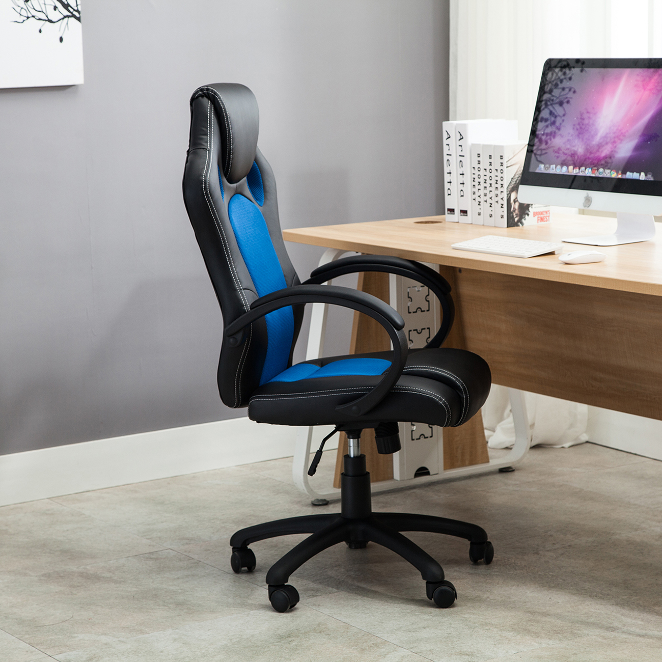 racing style office computer chair pu leather swivel chair napping