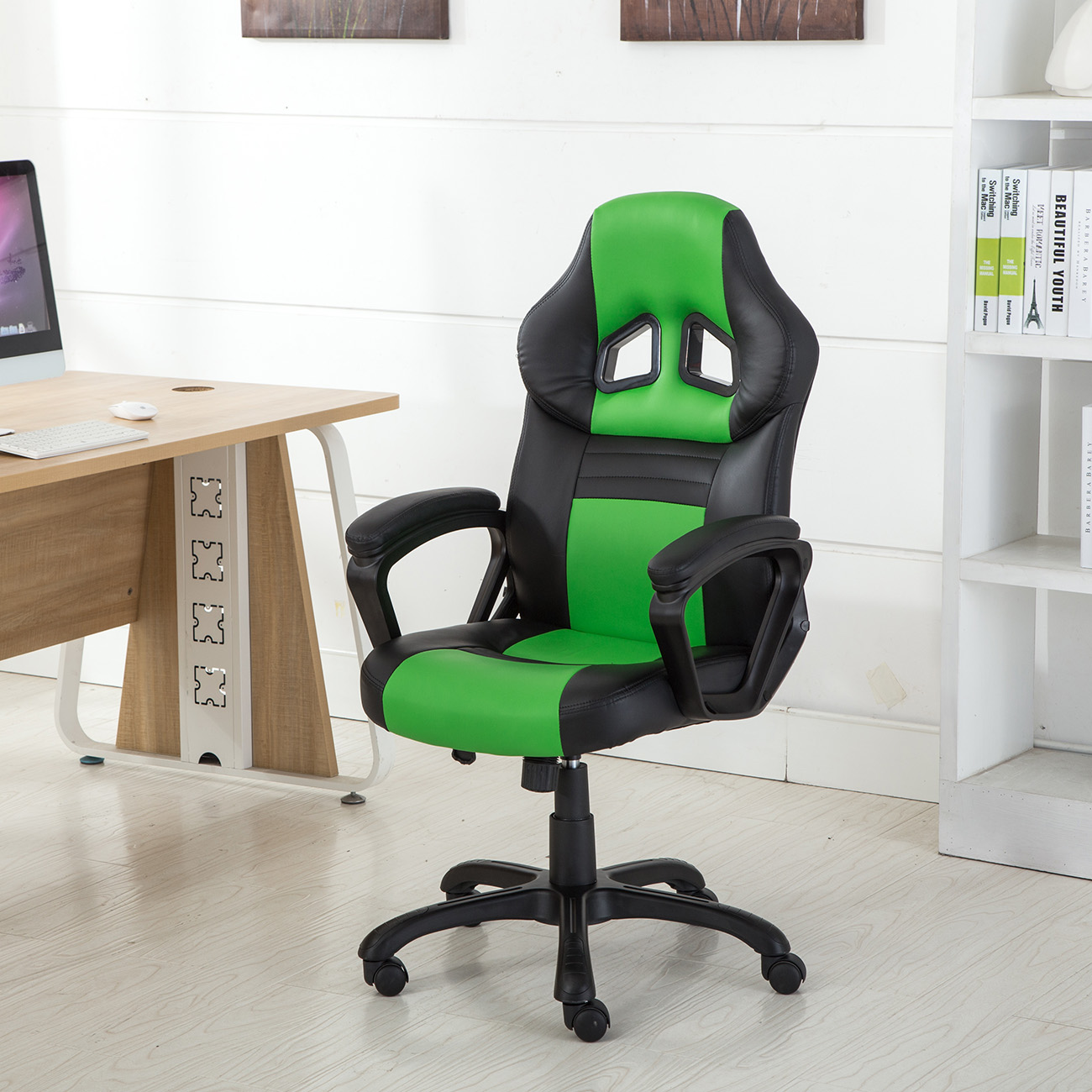 Office Chair Ergonomic Computer PU Leather Desk Swivel Seat Race Car Game Green