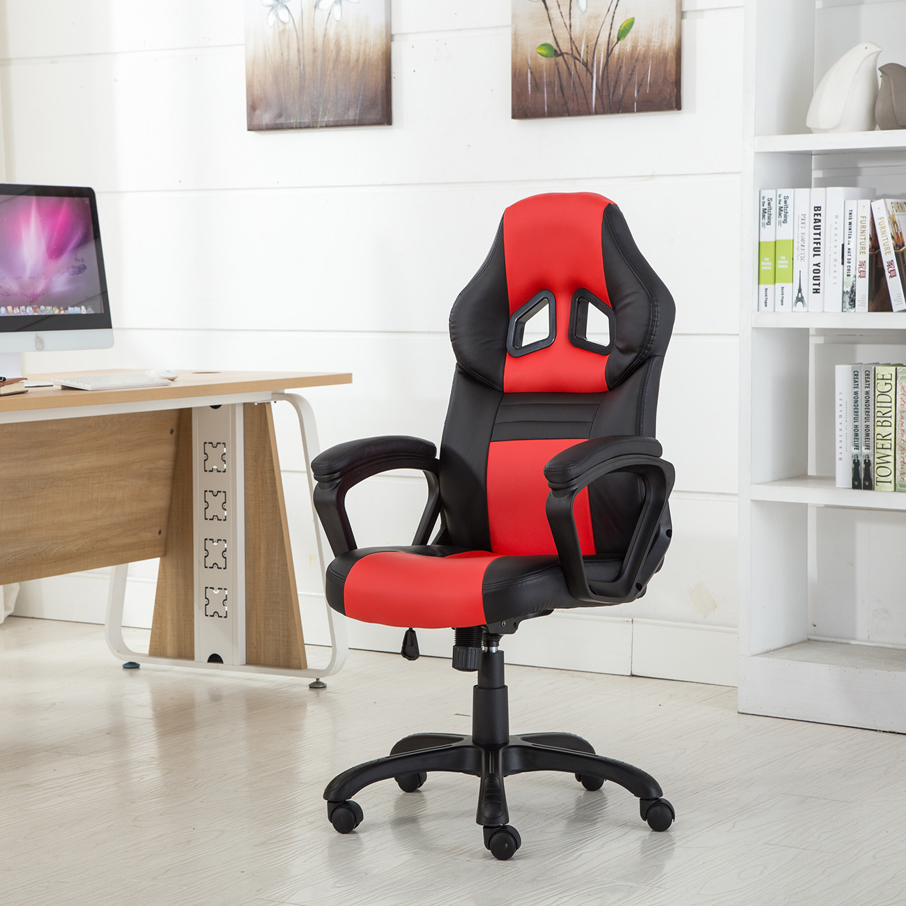 high back pu leather executive office desk race car seat racing gaming chair new ebay. Black Bedroom Furniture Sets. Home Design Ideas