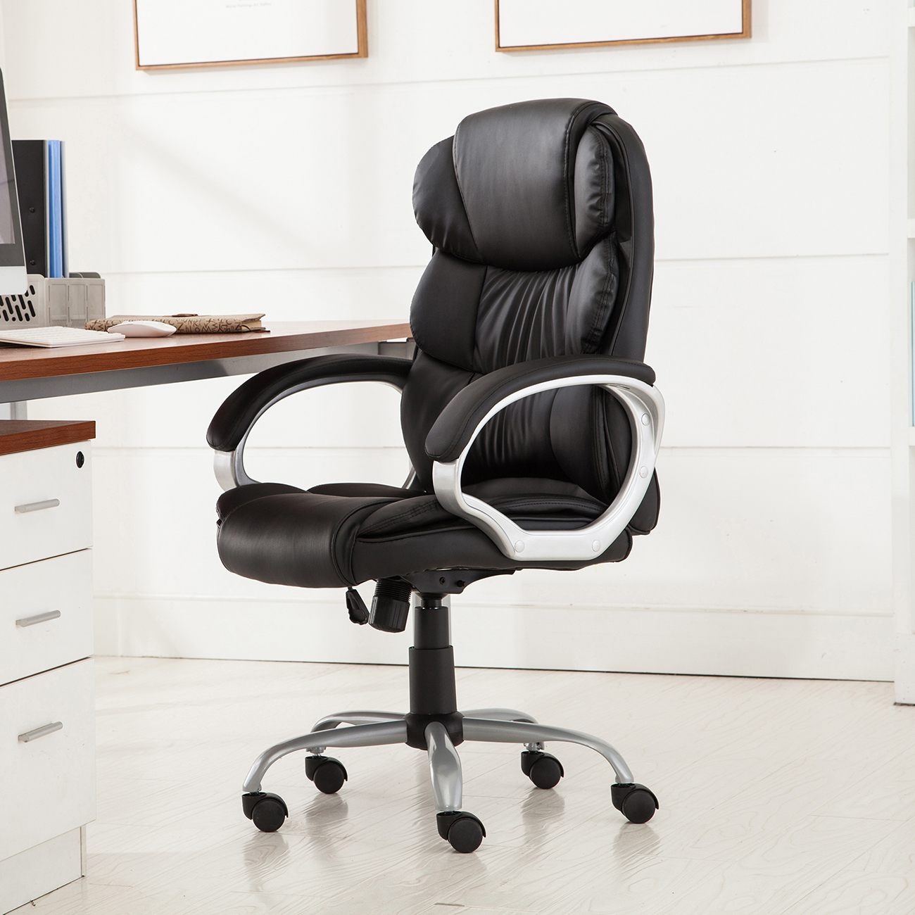 PU-Leather-Office-Rolling-Computer-Chair-Black-Mocha-High-Back-Executive-Desk thumbnail 5