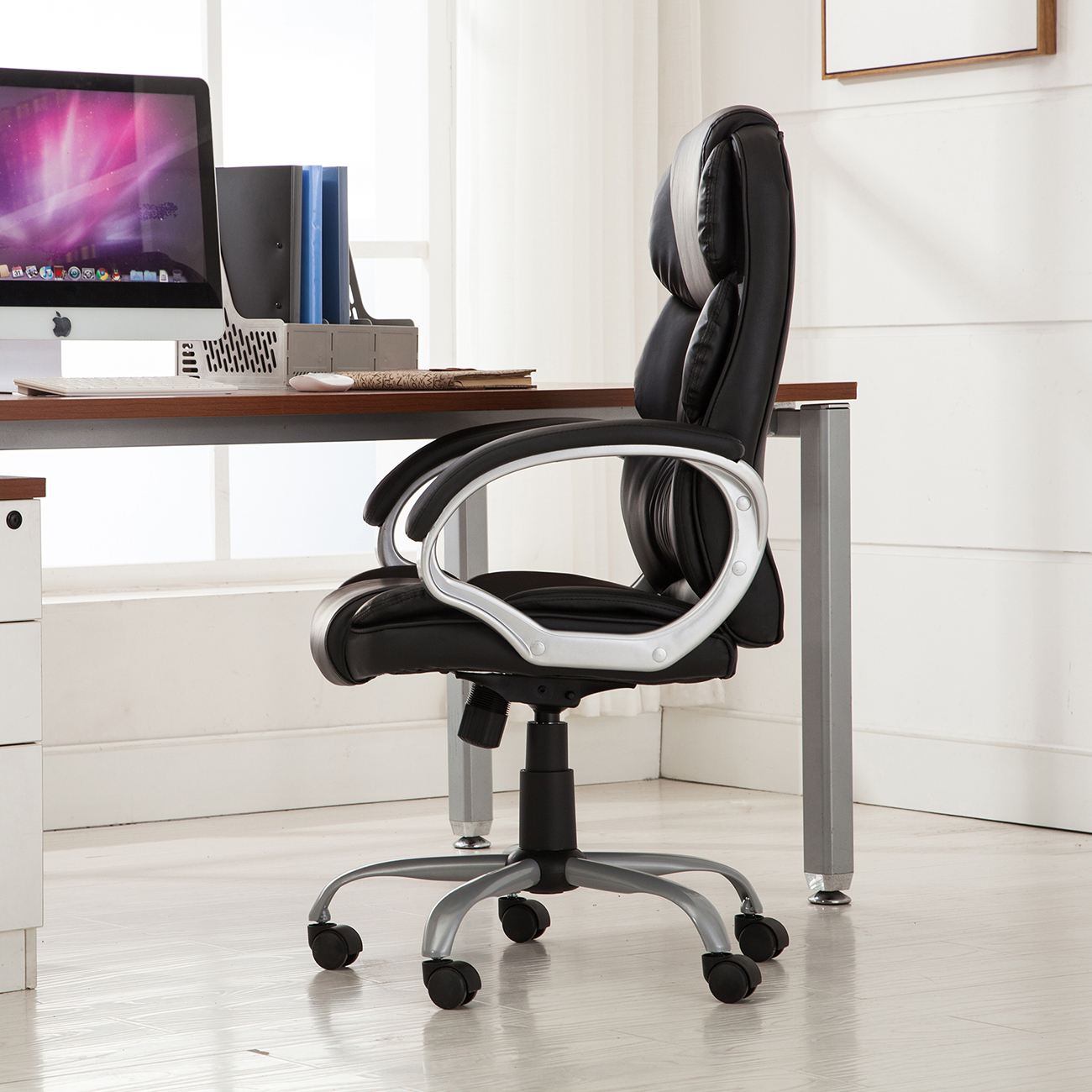 PU-Leather-Office-Rolling-Computer-Chair-Black-Mocha-High-Back-Executive-Desk thumbnail 6