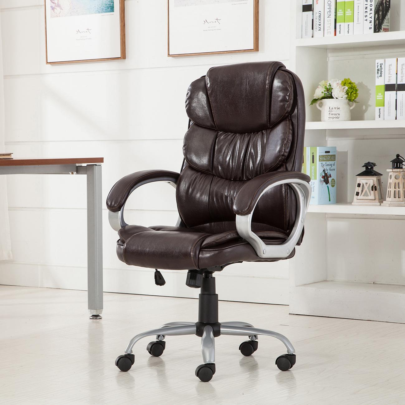 Ergonomic Computer Desk Mocha Pu Leather High Back Office Chair Executive Task Ergonomic