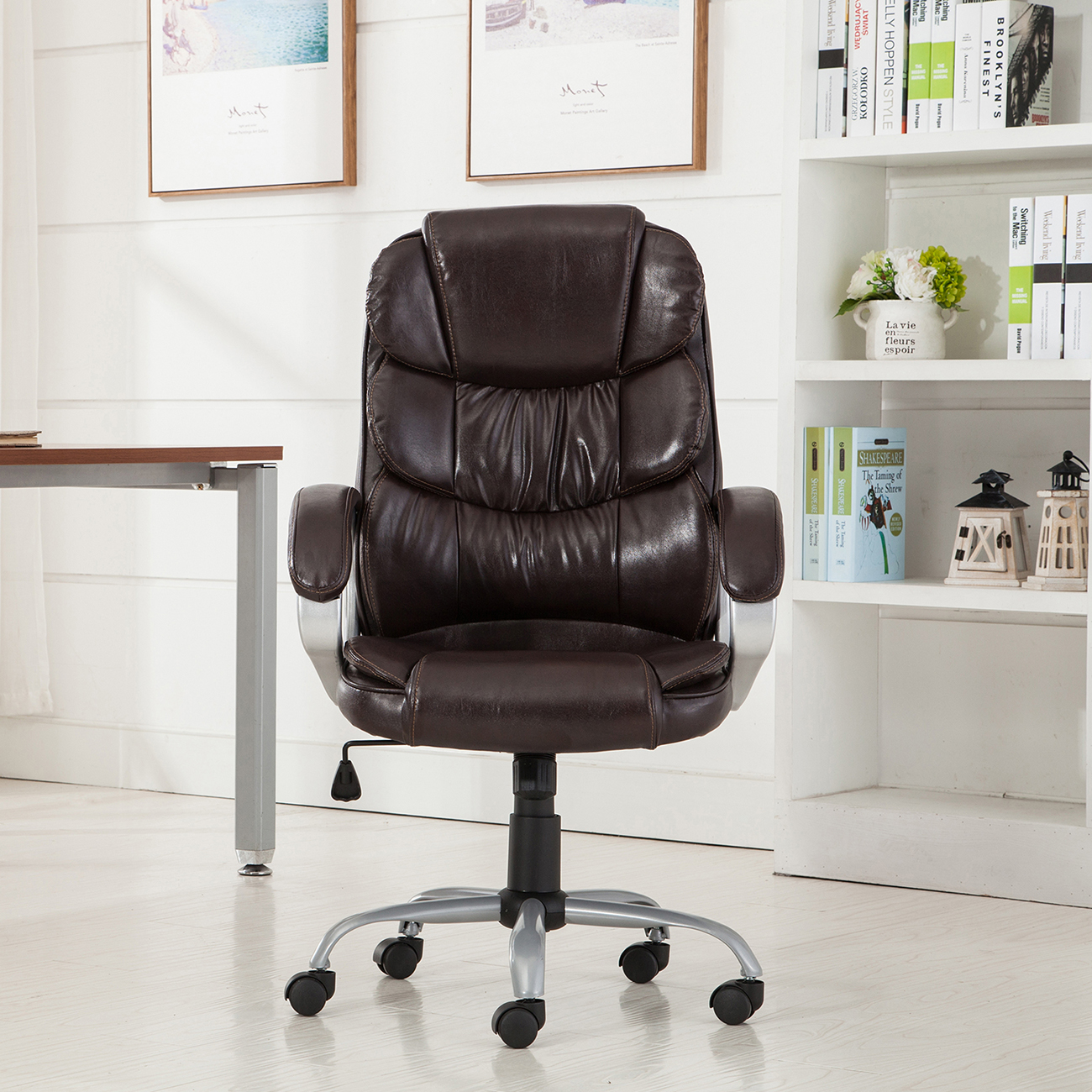 PU-Leather-Office-Rolling-Computer-Chair-Black-Mocha-High-Back-Executive-Desk thumbnail 8