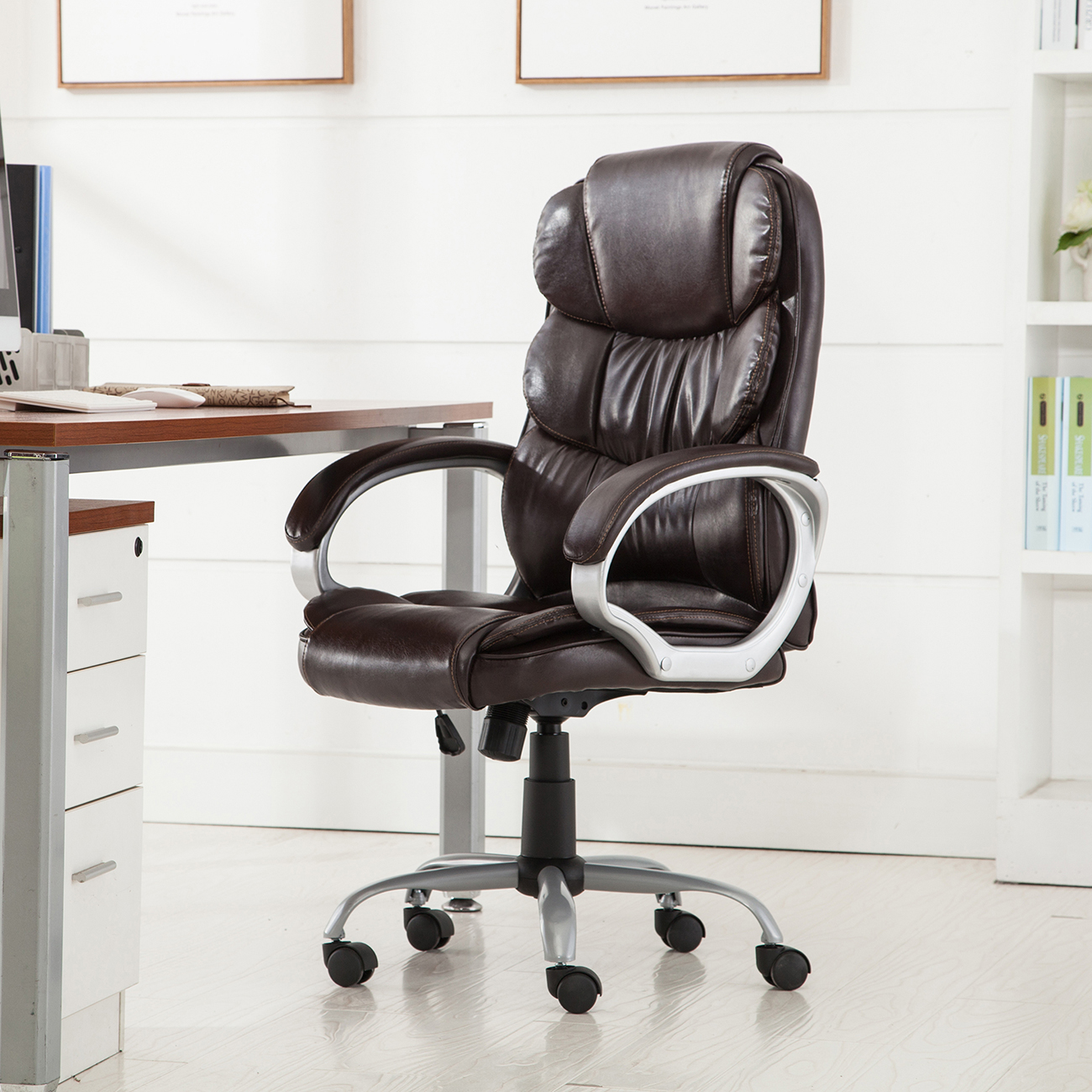PU-Leather-Office-Rolling-Computer-Chair-Black-Mocha-High-Back-Executive-Desk thumbnail 10