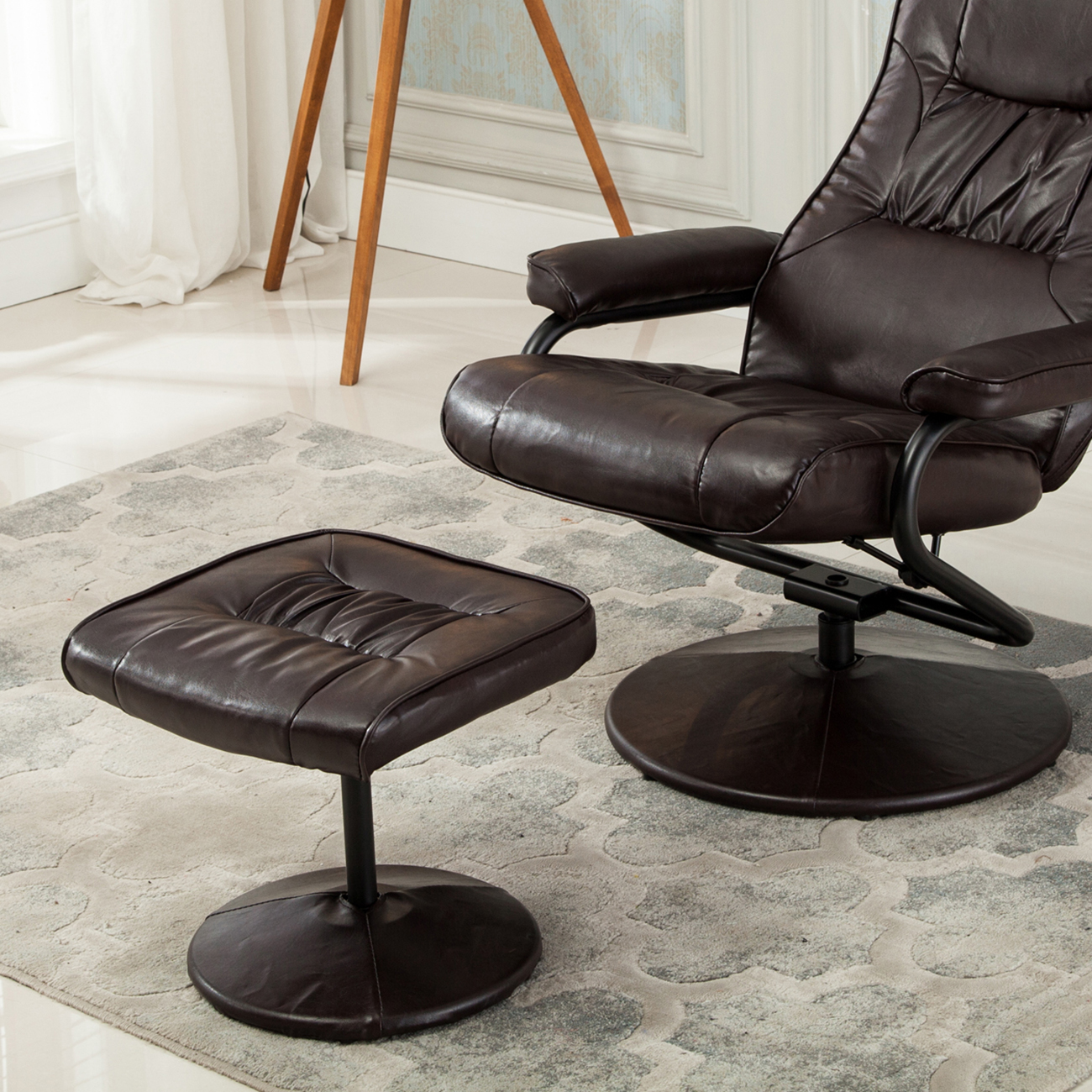 NEW Executive Faux Leather Seat Chair Recliner Swivel