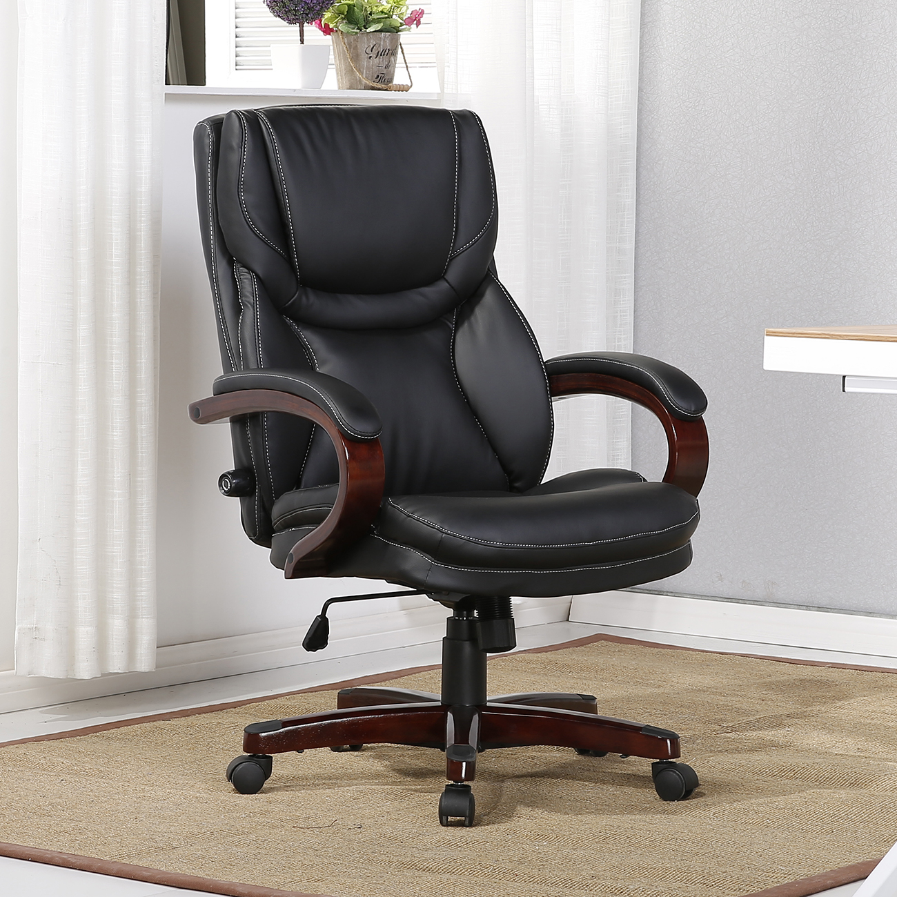 executive chair high back office desk arm lumbar support leather black brown ebay. Black Bedroom Furniture Sets. Home Design Ideas