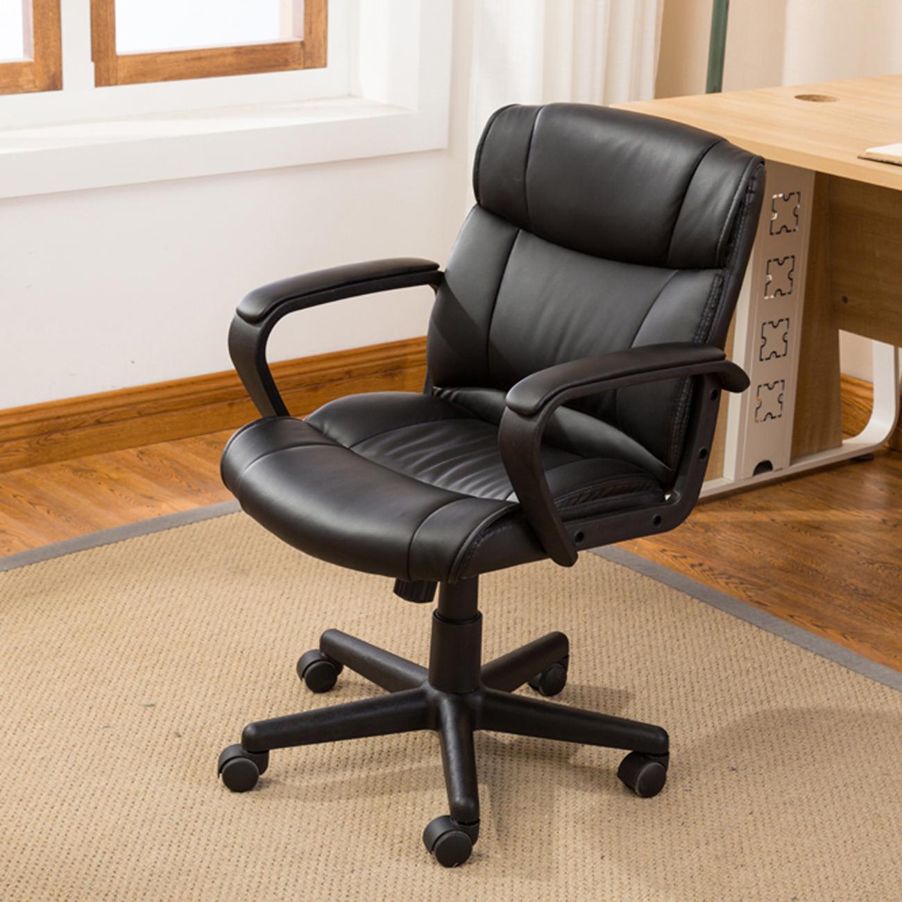 Pleasant Details About Ergonomic Pu Leather Mid Back Executive Computer Desk Task Office Chair Black Spiritservingveterans Wood Chair Design Ideas Spiritservingveteransorg