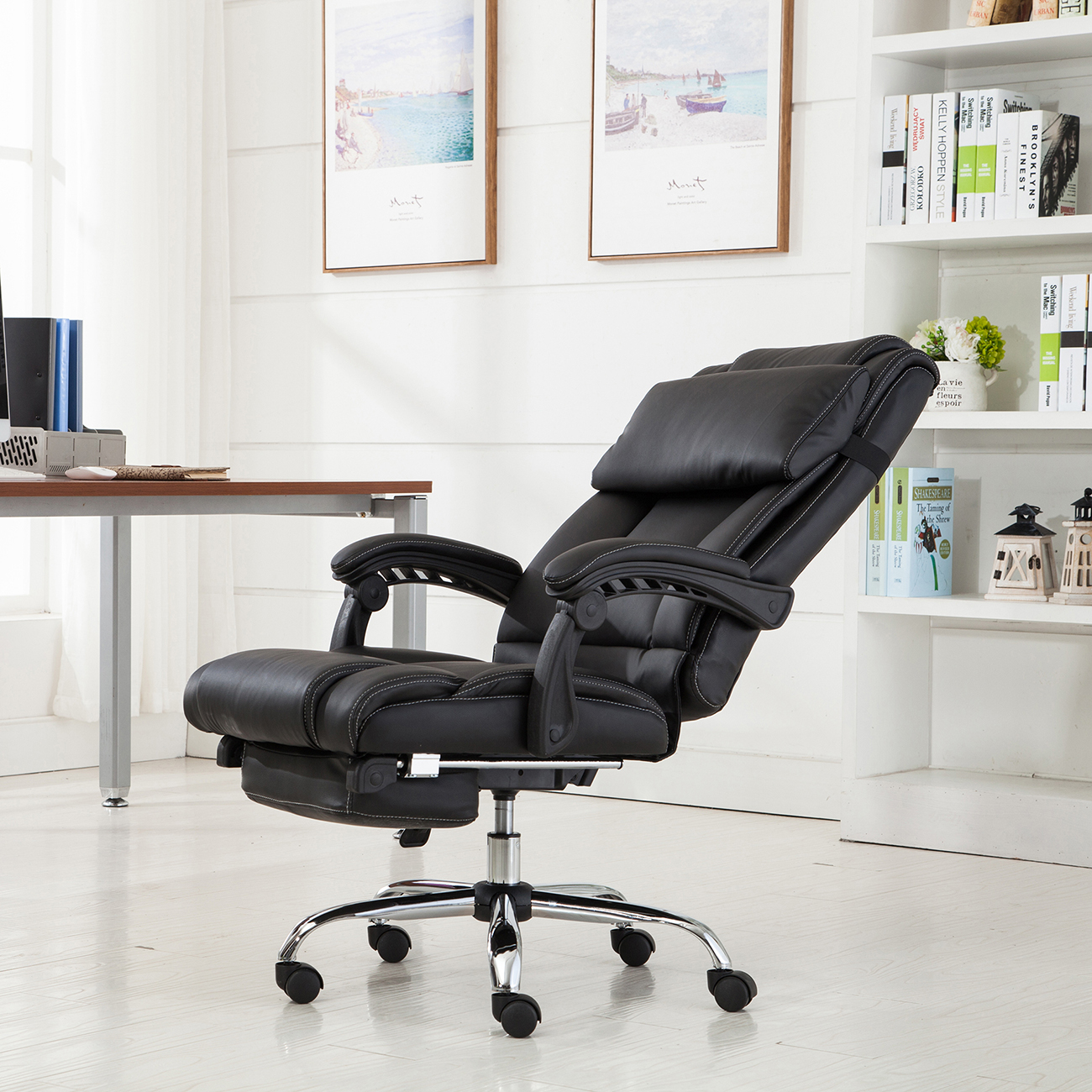 high degree orangea office swivel ergonomic recliner reclining back pin pu executive leather chair