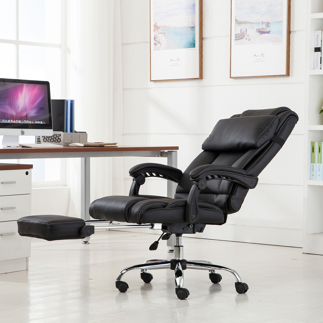 Executive Reclining Office Chair Ergonomic High Back Leather Footrest Armchair & Executive Reclining Office Chair Ergonomic High Back Leather ...