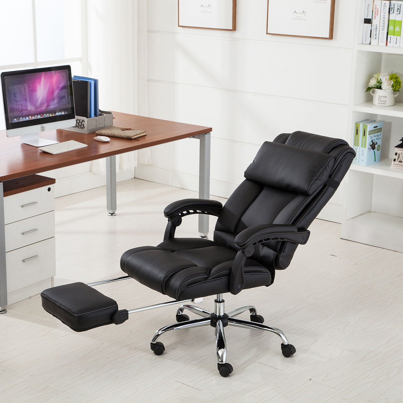 Executive Office Chair Ergonomic Armchair Reclining High Back Leather  Footrest