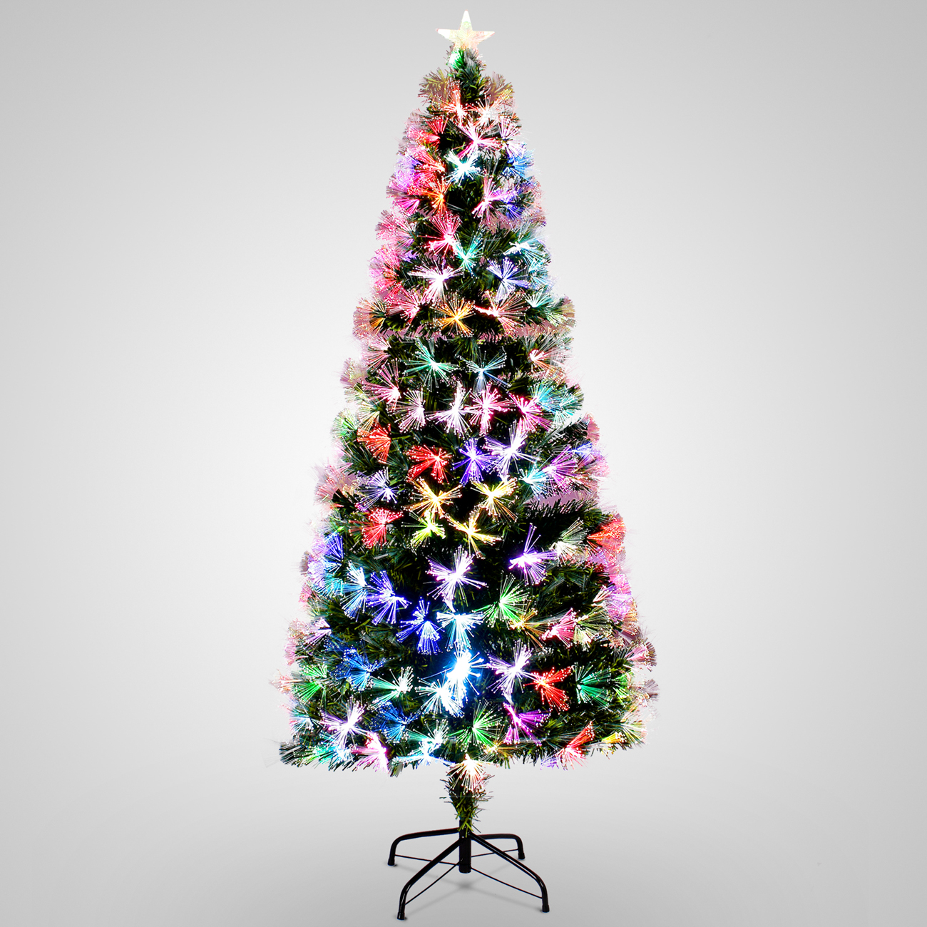 Artificial Christmas Tree Stand.Details About 7ft Pre Lit Fiber Optic Artificial Christmas Tree Snow Multicolor Lights Stand