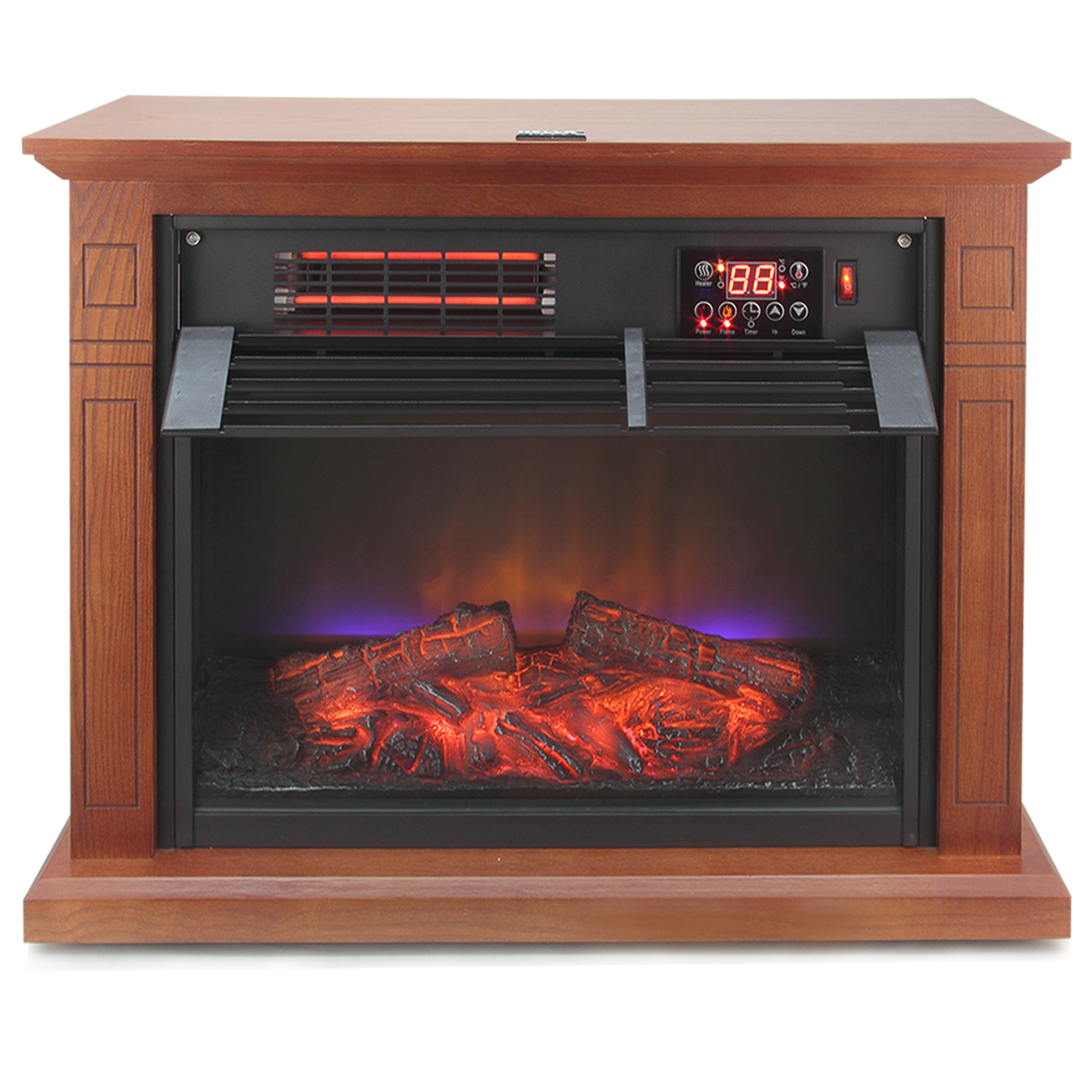 Large Room Electric Quartz Infrared Fireplace Heater Deluxe Mantel 1500 Watt Ebay