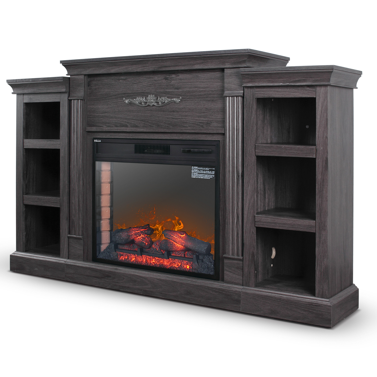 Entertainment Electric Fireplace Console Storage Wood with R